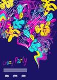 Partido loco del fondo colorido de moda Elementos de color modernos abstractos en estilo de la pintada stock de ilustración