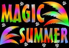 Partido mágico de la playa del verano Vacaciones y viaje mágicos de verano Fondo colorido del cartel vivo con las hojas de palma  libre illustration