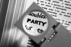 Partido magnificado de la palabra Imagen de archivo libre de regalías