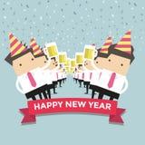 Partido newyear feliz del hombre de negocios Imagen de archivo libre de regalías