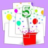 Partido o festividad de sorpresa de las exhibiciones de la caja de la sorpresa del número cinco ilustración del vector
