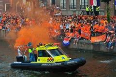 Partido para el equipo de fútbol holandés Imágenes de archivo libres de regalías