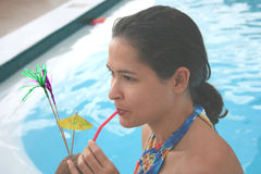 Partido por la piscina Imagen de archivo