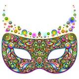 Partido psicodélico de la noche del carnaval de la máscara aislado en el ejemplo blanco del vector ilustración del vector