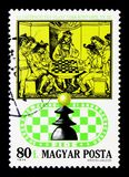 Partido real da xadrez, século XV, livro italiano da xadrez, 50th Annive Imagem de Stock