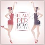 Partido retro das meninas do Flapper ilustração royalty free
