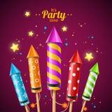 Partido Rocket Fireworks Flyer Card Vetor ilustração do vetor
