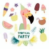 Partido tropical del flamenco lindo stock de ilustración