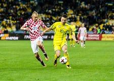 Partido Ucrania - Croacia del mundial 2018 de la FIFA Foto de archivo