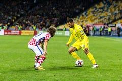 Partido Ucrania - Croacia del mundial 2018 de la FIFA Fotografía de archivo