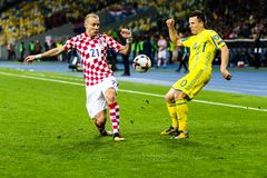 Partido Ucrania - Croacia del mundial 2018 de la FIFA Fotos de archivo