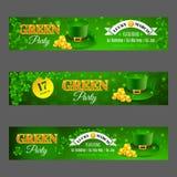 Partido Verde Ajuste com as bandeiras para o dia de St Patrick da celebração Imagens de Stock Royalty Free