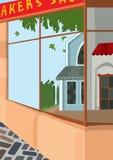 Partie antérieure de rue de bande dessinée du magasin Image libre de droits