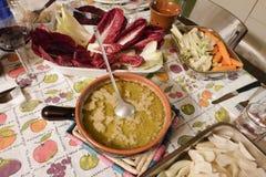 Partie caudale de Bagna Plat italien de cuisine Piedmontese Image libre de droits