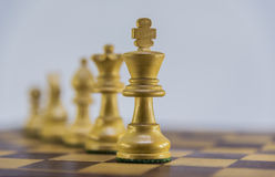 Partie d'échecs sur le fond blanc Photos stock