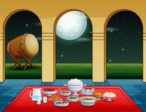 Partie d'Iftar avec les plats délicieux au fond de mosquée illustration de vecteur