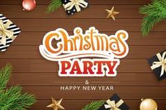 Partie d'invitation de Joyeux Noël et carte de voeux sur le bois brun illustration stock