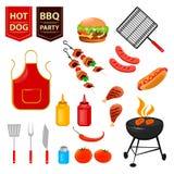 Partie de barbecue d'été Ensemble d'icônes plates avec le pilon de poulet, le hot-dog, la viande et les sauces grillés Photos libres de droits