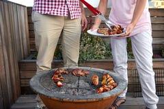 Partie de barbecue de chiche-kebab de poulet Photographie stock libre de droits