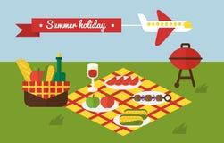 Partie de BBQ Pique-nique d'été de barbecue invitation Photographie stock libre de droits