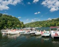 Partie de canotage de Fête du travail sur le lac Morgantown WV cheat image libre de droits