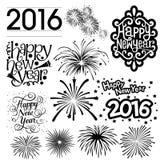 Partie de feu d'artifice de silhouette de vecteur de la nouvelle année 2016 Photos stock