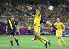 Partie de football 2012 d'EURO de l'UEFA Ukraine contre la Suède Image libre de droits