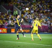 Partie de football 2012 d'EURO de l'UEFA Ukraine contre la Suède Photo stock