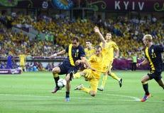 Partie de football 2012 d'EURO de l'UEFA Ukraine contre la Suède Images libres de droits