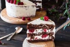 Partie de gâteau crémeux posé de fruit avec dans la fin vers le haut de la vue Gâteau de framboise avec du chocolat Gâteau de cho photo libre de droits