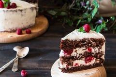 Partie de gâteau crémeux posé de fruit avec dans la fin vers le haut de la vue Gâteau de framboise avec du chocolat Gâteau de cho photographie stock