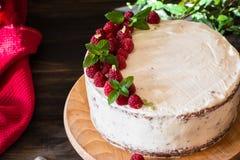 Partie de gâteau crémeux posé de fruit avec dans la fin vers le haut de la vue Gâteau de framboise avec du chocolat Gâteau de cho images libres de droits