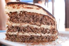 Partie de gâteau de chocolat d'une plaque Photographie stock
