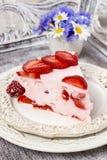 Partie de gâteau de fraise Image libre de droits