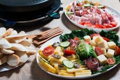 Partie de gril de Raclette Photos libres de droits