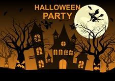 Partie de Halloween, nuit, lune, arbres rampants, potiron, battes, sorcières illustration de vecteur