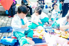 Partie de jour du ` s d'enfants pique-nique de jardin Images libres de droits