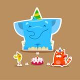 Partie de joyeux anniversaire avec de petits animaux mignons éléphant, chat et illustration libre de droits