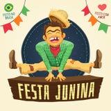 Partie de juin de Brésilien de Festa Junina - paysan heureux sautant plus de illustration stock