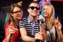 Partie de karaoke Images libres de droits