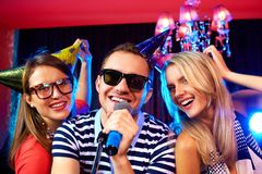 Partie de karaoke Images stock