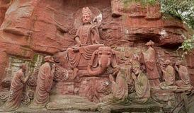 Partie de la pierre-Le dix de falaise d'Emei Shan à adorer image libre de droits