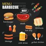 Partie de menu de barbecue Conception de menu de calibre d'invitation de BBQ Images libres de droits