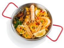 Partie de Paella de fruits de mer Photos libres de droits