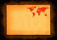 Partie de papier avec la petite carte du monde illustration stock