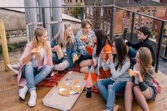 Partie de pizza d'amis sur le toit Photo libre de droits