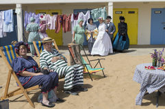 Partie de plage de festival de Broadstairs Dickens Photo stock