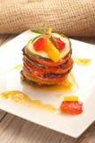 Partie de ratatouille servie d'un plat Image libre de droits