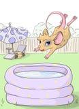 Partie de souris La souris saute dans une piscine gonflable illustration stock