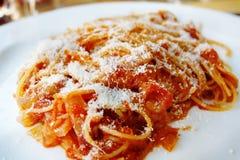 Partie de spaghetti Bolonais Photographie stock libre de droits